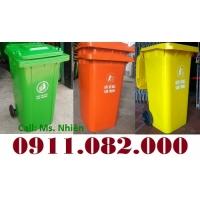 Xả kho thùng rác 240 lít giá rẻ tại cà mau, thùng rác mới 100%- lh 0911082000