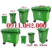 Thùng rác 120L 240L 660L giá rẻ-thùng rác 2 ngăn giá sỉ tại tiền giang