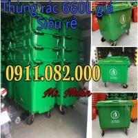 Bán thùng rác 660 lít giá rẻ tại cần thơ- thùng rác 4 bánh xe màu xanh-lh 0911082000