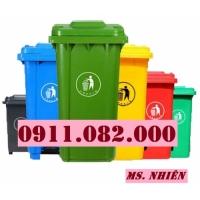 Thanh lý thùng rác 120 lít 240 lít giá rẻ tại sóc trăng- thùng rác màu xanh